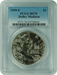 1999-P PCGS MS70 Dolley Madison Commemorative Silver Dollar Faded Label