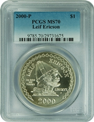 2000-P PCGS MS70 Leif Ericson Commemorative Silver Dollar Faded Label