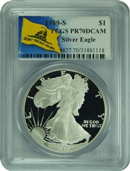 1989-S PCGS PR70DCAM Silver Eagle Dollar Don't Tread On Me Label