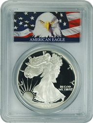1990-S PCGS PR70DCAM Silver Eagle Dollar Bald Eagle Label