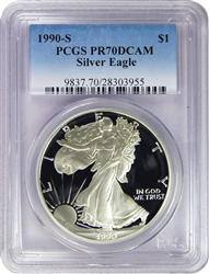 1990-S PCGS PR70DCAM Silver Eagle Dollar Faded Label