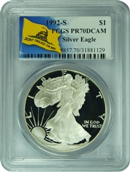 1992-S PCGS PR70DCAM Silver Eagle Dollar Don't Tread On Me Label