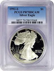 1992-S PCGS PR70DCAM Silver Eagle Dollar Faded Label