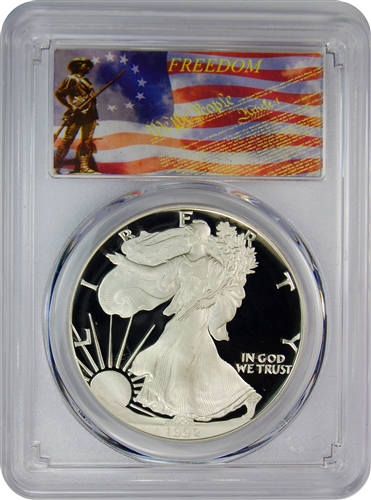 1992-S PCGS PR70DCAM Silver Eagle Dollar Freedom Label