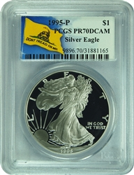 1995-P PCGS PR70DCAM Silver Eagle (Don't Tread On Me Label)