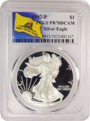 1997-P PCGS PR70DCAM Silver Eagle Dollar Don't Tread On Me Label
