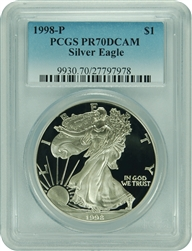 1998-P PCGS PR70DCAM Silver Eagle Dollar Faded Label