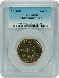 2000-D PCGS MS67 MILLENIUM SET SACAGAWEA DOLLAR Faded Label