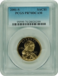 2001-S PCGS PR70DCAM SACAGAWEA DOLLAR Faded Label