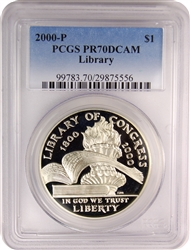 2000-P PCGS PR70DCAM Library Commemorative Silver Dollar Faded Label