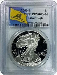 2000-P PCGS PR70DCAM Silver Eagle Dollar Don't Tread On Me Label