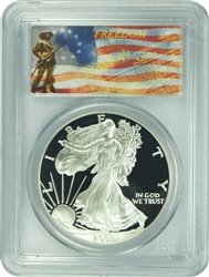 2001-W PCGS PR70DCAM Silver Eagle Dollar Freedom Label