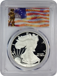 2003-W PCGS PR70DCAM Silver Eagle Dollar Freedom Label