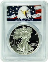 2004-W PCGS PR70DCAM Silver Eagle Dollar Bald Eagle Label