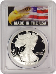 2005-W PCGS PR70DCAM Silver Eagle Dollar Made in the USA Label