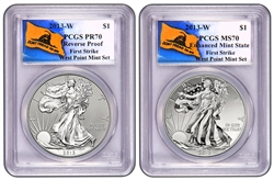 2013 West Point Silver Eagle Set PCGS 70 First Strike (Don't Tread On Me)
