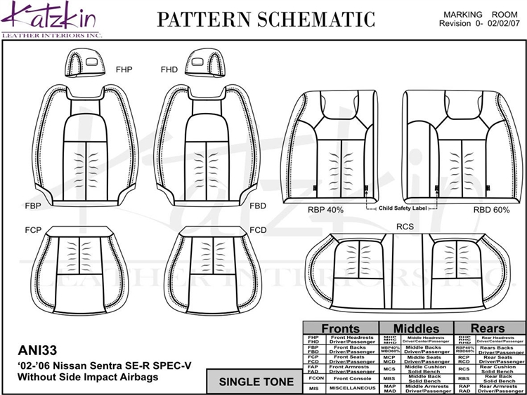 Nissan Sentra SE-R / SPEC-V Katzkin Leather Seats (split