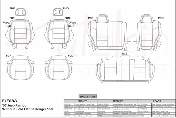 Jeep Patriot Katzkin Leather Seats, 2007, 2008, 2009