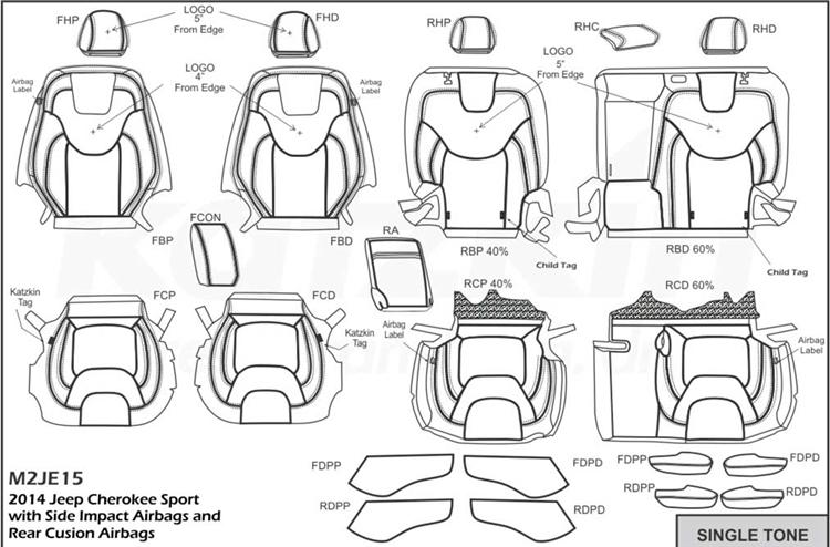 Jeep Cherokee SPORT Katzkin Leather Seats, 2014, 2015