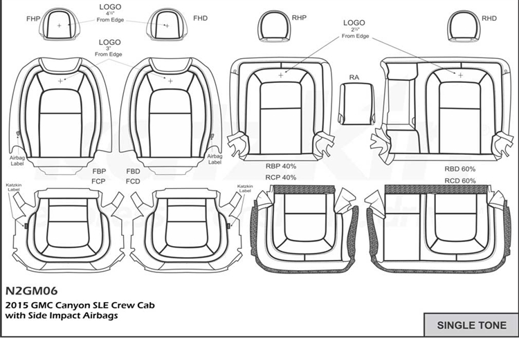 gmc canyon sle    slt crew cab katzkin leather seats  2015  2016  2017  2018  with rear armrest