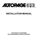 AUTOPAGE RS-750LCD Installation Manual