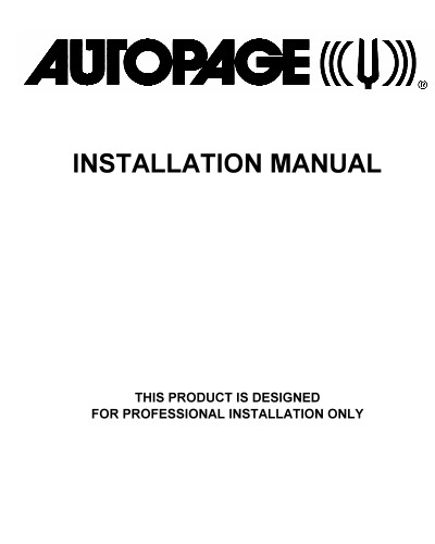 AUTOPAGE Owners and Installation GuidesBrentwood Car Audio