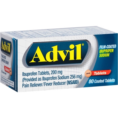 Advil Pain Reliever Fever Reducer 80 Count Coated Tablets