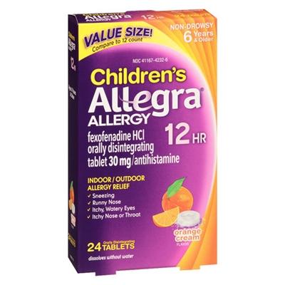 Allegra Allergy Non-Drowsy Children's Allergy Relief 24 T...