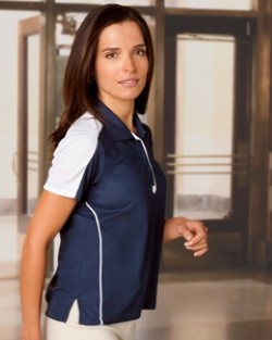 Chestnut Hill CH355W Womens Piped Technical Performance Polo Shirts.