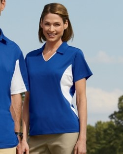Harriton M355W Womens Side Blocked Micro-Pique Polo Shirts