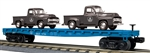 Baltimore & Ohio_B&O_Flatcar w/(2)'53 black Ford pickup trucks_30-76668_3Rail