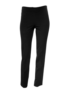'Audrey' Crepe Slim Straight-Leg Pant side zip