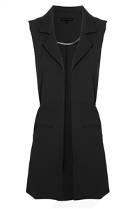 'Stella' Long Crepe Vest | Black
