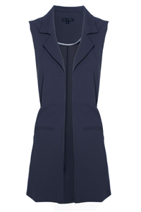 'Stella' Long Crepe Vest | Navy