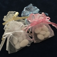 Ruffle Crown Pouch Favor with Jordan Almonds