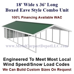 Carport With Storage Boxed Eave Style Metal Combo Unit 18' x 36' x 6'