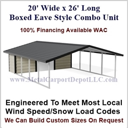 Carport With Storage Boxed Eave Style Metal Combo Unit 20' x 26' x 6'