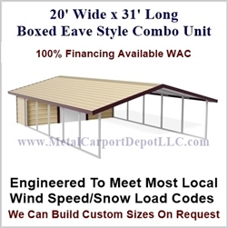 Carport With Storage Boxed Eave Style Metal Combo Unit 20' x 31' x 6'