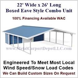 Carport With Storage Boxed Eave Style Metal Combo Unit 22' x 26' x 6'