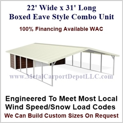 Carport With Storage Boxed Eave Style Metal Combo Unit 22' x 31' x 6'