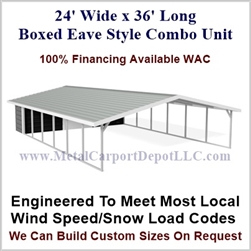 Carport With Storage Boxed Eave Style Metal Combo Unit 24' x 36' x 6'