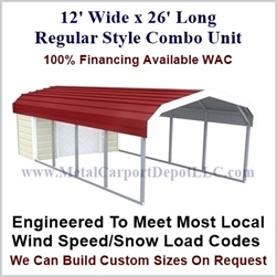 Carport With Storage Regular Style Metal Combo Unit 12' x 26' x 6'