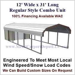 Carport With Storage Regular Style Metal Combo Unit 12' x 31' x 6'