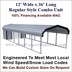 Carport With Storage Regular Style Metal Combo Unit 12' x 36' x 6'