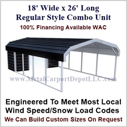 Carport With Storage Regular Style Metal Combo Unit 18' x 26' x 6'