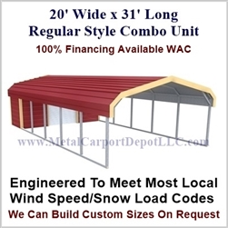 Carport With Storage Regular Style Metal Combo Unit 20' x 31' x 6'