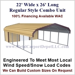 Carport With Storage Regular Style Metal Combo Unit 22' x 26' x 6'