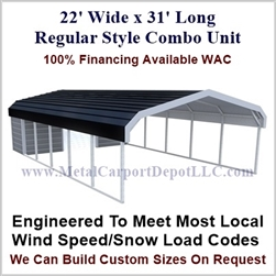Carport With Storage Regular Style Metal Combo Unit 22' x 31' x 6'