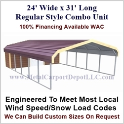 Carport With Storage Regular Style Metal Combo Unit 24' x 31' x 6'
