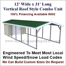 Carport With Storage Vertical Roof Style Metal Combo Unit 12' x 31' x 6'